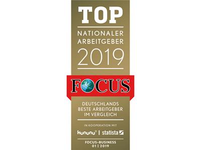 Focus Auszeichnung Top Nationaler Arbeitgeber 2019