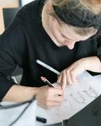 a women writing