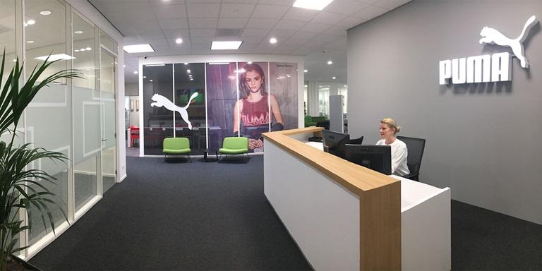 Empfangsbereich im Büro von PUMA Benelux