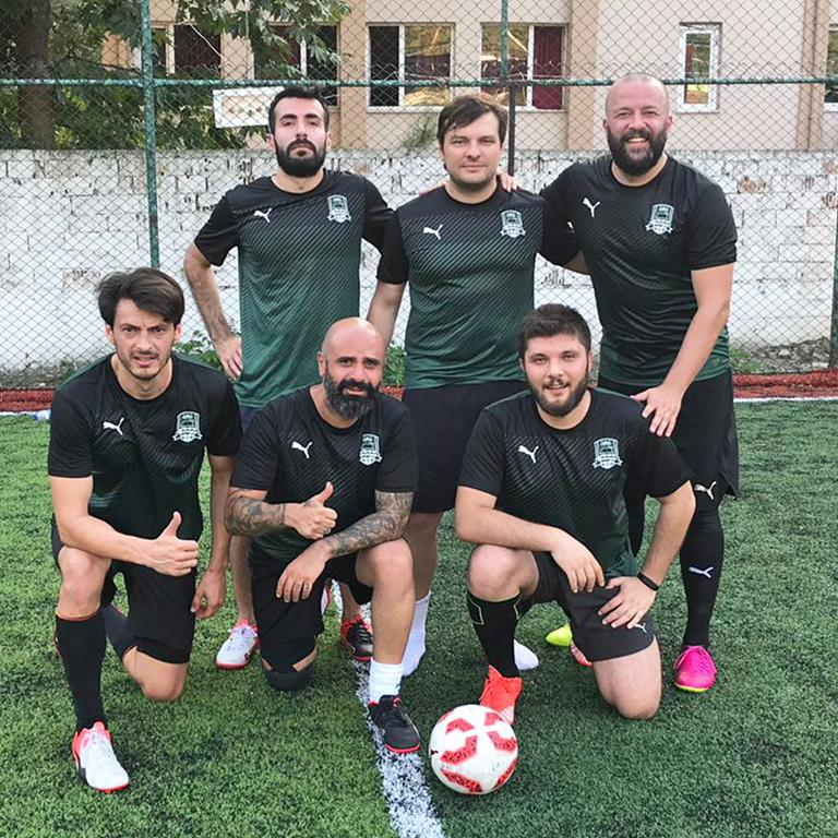 PUMA employees before playing football